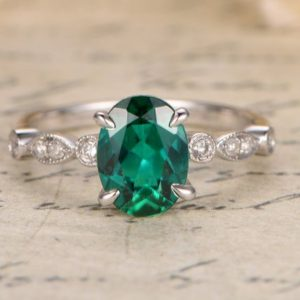Emerald Engagement Ring 14K White Gold Oval Emerald Ring May Birthstone Ring Art Deco Wedding Band Bezel Set Eternity 6x8mm Emerald Ring | Natural genuine Gemstone rings, simple unique alternative gemstone engagement rings. #rings #jewelry #bridal #wedding #jewelryaccessories #engagementrings #weddingideas #affiliate #ad