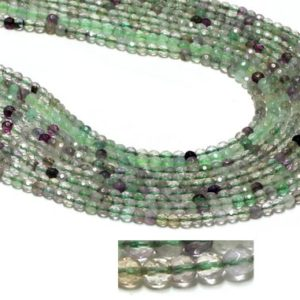 "Shop Fluorite Faceted Beads! GU-26449 – Rainbow Fluorite Round Faceted Beads – 4mm – Gemstone Beads – 16"" Strand 