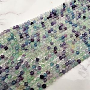 """Shop Fluorite Beads! Natural Fluorite Faceted Round Beads 2mm 3mm 4mm 15.5"""" Strand 