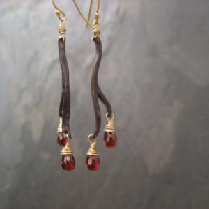 Linear garnet earrings, branch dangle, red gemstone teardrop, two tone metal, blackened silver, tree branch, long earrings, genuine garnet | Natural genuine Array jewelry. Buy crystal jewelry, handmade handcrafted artisan jewelry for women.  Unique handmade gift ideas. #jewelry #beadedjewelry #beadedjewelry #gift #shopping #handmadejewelry #fashion #style #product #jewelry #affiliate #ad