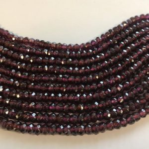 "Natural Red Garnet 5x3mm Faceted Rondelle Gemstone Beads–7""–1 strand/3 strands 