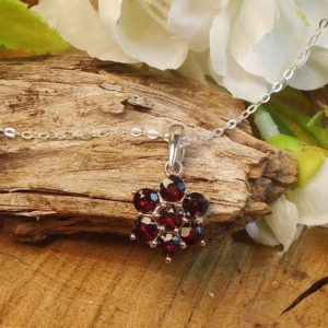 Shop Garnet Necklaces! Garnet Stud Necklace, Deep Maroon Red, Total 4.90 Ct 4 mm January Birthstone Gem, Madagascar Natural Garnet, Sterling Silver | Natural genuine Garnet necklaces. Buy crystal jewelry, handmade handcrafted artisan jewelry for women.  Unique handmade gift ideas. #jewelry #beadednecklaces #beadedjewelry #gift #shopping #handmadejewelry #fashion #style #product #necklaces #affiliate #ad