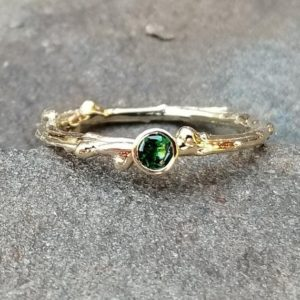 Shop Garnet Rings! Tsavorite Ring, Tsavorite Garnet Ring, January Birthstone Ring, Green Garnet Ring, 14K Gold Twig Ring, Tsavorite Jewelry, Rings for Women | Natural genuine Garnet rings, simple unique handcrafted gemstone rings. #rings #jewelry #shopping #gift #handmade #fashion #style #affiliate #ad