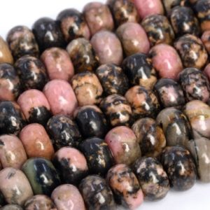 Shop Rhodonite Rondelle Beads! Genuine Natural Rhodonite Loose Beads Rondelle Shape 6x4mm 8x5mm | Natural genuine rondelle Rhodonite beads for beading and jewelry making.  #jewelry #beads #beadedjewelry #diyjewelry #jewelrymaking #beadstore #beading #affiliate #ad