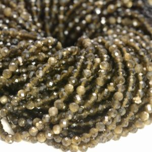 3MM Golden Obsidian Gemstone Micro Faceted Round Grade Aaa Beads 15.5inch WHOLESALE (80010198-A193) | Natural genuine faceted Golden Obsidian beads for beading and jewelry making.  #jewelry #beads #beadedjewelry #diyjewelry #jewelrymaking #beadstore #beading #affiliate #ad