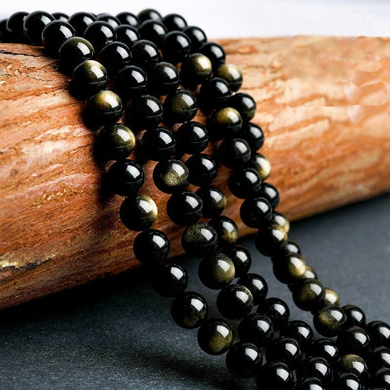 Gold Sheen Obsidian Beads Genuine Natural Aaa Grade
