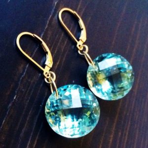 Green Amethyst Gold Fill Earrings. Round Checkerboard stones.  Pale green dangles.  Weddings jewelry.  February birthstone.  33 carats | Natural genuine Gemstone earrings. Buy handcrafted artisan wedding jewelry.  Unique handmade bridal jewelry gift ideas. #jewelry #beadedearrings #gift #crystaljewelry #shopping #handmadejewelry #wedding #bridal #earrings #affiliate #ad