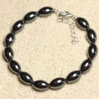 Bracelet 925 Sterling Silver And Hematite – Olive 12mm | Natural genuine Gemstone jewelry. Buy crystal jewelry, handmade handcrafted artisan jewelry for women.  Unique handmade gift ideas. #jewelry #beadedjewelry #beadedjewelry #gift #shopping #handmadejewelry #fashion #style #product #jewelry #affiliate #ad