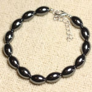 Bracelet 925 sterling silver and Hematite – olive 12mm | Natural genuine Array bracelets. Buy crystal jewelry, handmade handcrafted artisan jewelry for women.  Unique handmade gift ideas. #jewelry #beadedbracelets #beadedjewelry #gift #shopping #handmadejewelry #fashion #style #product #bracelets #affiliate #ad