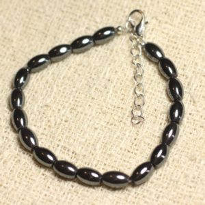 Shop Hematite Bracelets! Bracelet 925 sterling silver and Hematite – olive 8mm | Natural genuine Hematite bracelets. Buy crystal jewelry, handmade handcrafted artisan jewelry for women.  Unique handmade gift ideas. #jewelry #beadedbracelets #beadedjewelry #gift #shopping #handmadejewelry #fashion #style #product #bracelets #affiliate #ad