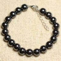 Bracelet 925 Sterling Silver And Hematite Stone – 8mm Balls | Natural genuine Gemstone jewelry. Buy crystal jewelry, handmade handcrafted artisan jewelry for women.  Unique handmade gift ideas. #jewelry #beadedjewelry #beadedjewelry #gift #shopping #handmadejewelry #fashion #style #product #jewelry #affiliate #ad