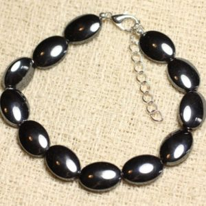 Bracelet 925 sterling silver and stone – Hematite ovals 14x10mm | Natural genuine Array bracelets. Buy crystal jewelry, handmade handcrafted artisan jewelry for women.  Unique handmade gift ideas. #jewelry #beadedbracelets #beadedjewelry #gift #shopping #handmadejewelry #fashion #style #product #bracelets #affiliate #ad