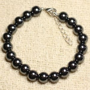 Shop Hematite Bracelets! Bracelet 925 sterling silver and Hematite stone – 8mm balls | Natural genuine Hematite bracelets. Buy crystal jewelry, handmade handcrafted artisan jewelry for women.  Unique handmade gift ideas. #jewelry #beadedbracelets #beadedjewelry #gift #shopping #handmadejewelry #fashion #style #product #bracelets #affiliate #ad