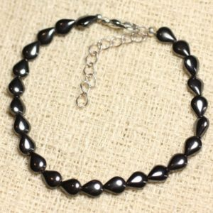 Bracelet 925 sterling silver and Hematite – stone drops 7mm | Natural genuine Array bracelets. Buy crystal jewelry, handmade handcrafted artisan jewelry for women.  Unique handmade gift ideas. #jewelry #beadedbracelets #beadedjewelry #gift #shopping #handmadejewelry #fashion #style #product #bracelets #affiliate #ad