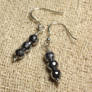 Shop Hematite Earrings! Earrings 925 Silver – Rhodium faceted 6mm Hematite | Natural genuine Hematite earrings. Buy crystal jewelry, handmade handcrafted artisan jewelry for women.  Unique handmade gift ideas. #jewelry #beadedearrings #beadedjewelry #gift #shopping #handmadejewelry #fashion #style #product #earrings #affiliate #ad