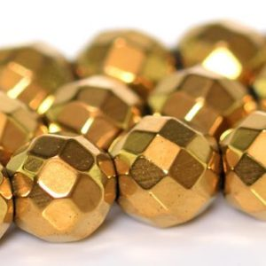 Shop Hematite Faceted Beads! Gold Hematite Beads Grade AAA Natural Gemstone Faceted Round Loose Beads 2MM 3MM 4MM 6MM 8MM Bulk Lot Options | Natural genuine faceted Hematite beads for beading and jewelry making.  #jewelry #beads #beadedjewelry #diyjewelry #jewelrymaking #beadstore #beading #affiliate #ad