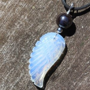 Shop Hematite Necklaces! Opalite Carved Angel Wing with Hematite Healing Stone Necklace!   Natural genuine Hematite necklaces. Buy crystal jewelry, handmade handcrafted artisan jewelry for women.  Unique handmade gift ideas. #jewelry #beadednecklaces #beadedjewelry #gift #shopping #handmadejewelry #fashion #style #product #necklaces #affiliate #ad