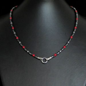 Shop Hematite Pendants! Red Coral And Hematite Mens Necklace, Handmade Necklace, Add Pendant Mens Necklace, Mens Gemstone Necklace, Mens Beaded Necklace | Natural genuine Hematite pendants. Buy handcrafted artisan men's jewelry, gifts for men.  Unique handmade mens fashion accessories. #jewelry #beadedpendants #beadedjewelry #shopping #gift #handmadejewelry #pendants #affiliate #ad