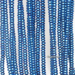 Shop Hematite Rondelle Beads! 3x2mm Blue Hematite Gemstone Blue Rondelle Heishi 3x2mm Loose Beads 16 inch Full Strand (90188980-149a) | Natural genuine rondelle Hematite beads for beading and jewelry making.  #jewelry #beads #beadedjewelry #diyjewelry #jewelrymaking #beadstore #beading #affiliate #ad