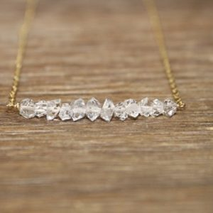 Shop Herkimer Diamond Necklaces! Herkimer Diamond Necklace, Bar Necklace, Diamond Crystal Jewelry, April Birthstone, Silver, Rose Gold or Gold FIlled | Natural genuine Herkimer Diamond necklaces. Buy crystal jewelry, handmade handcrafted artisan jewelry for women.  Unique handmade gift ideas. #jewelry #beadednecklaces #beadedjewelry #gift #shopping #handmadejewelry #fashion #style #product #necklaces #affiliate #ad