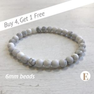 Shop Howlite Bracelets! Matte Howlite Bracelet | 6 mm Beads | Howlite Beads | Stretch Bracelet | Healing Crystal Bracelet | Buy 4 Get 1 FREE! | Natural genuine Howlite bracelets. Buy crystal jewelry, handmade handcrafted artisan jewelry for women.  Unique handmade gift ideas. #jewelry #beadedbracelets #beadedjewelry #gift #shopping #handmadejewelry #fashion #style #product #bracelets #affiliate #ad