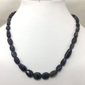 """Shop Iolite Chip & Nugget Beads! 190 Cts Natural Iolite Smooth Nuggets Beaded Necklace 20"""" 92.5 Silver Clasp/Semi Precious Beads/Gemstone Beads/iolite Beads 