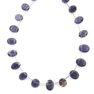 Shop Iolite Faceted Beads! Best Quality 1 Strand Natural Iolite Gemstone, side Drilled Cut Stone Iolite Faceted Oval Shape, size 5×7-6×8 Mm Oval Shape Iolite Cut Stone | Natural genuine faceted Iolite beads for beading and jewelry making.  #jewelry #beads #beadedjewelry #diyjewelry #jewelrymaking #beadstore #beading #affiliate #ad