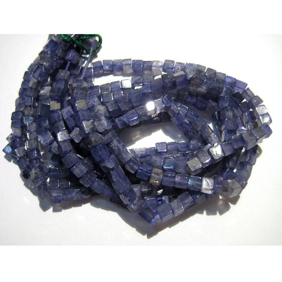 4mm Iolite Plain Cubes, Vilet Blue Iolite Plain Box Beads, Blue Iolite Beads For Necklace, Iolite (8in To 16in Options) - Ipc