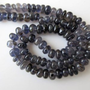 Shop Iolite Rondelle Beads! 7mm Iolite Rondelle Beads, Natural Iolite Smooth Rondelle Beads, 7mm to 7.5mm Beads, 16 Inch Strand, GDS666 | Natural genuine rondelle Iolite beads for beading and jewelry making.  #jewelry #beads #beadedjewelry #diyjewelry #jewelrymaking #beadstore #beading #affiliate #ad
