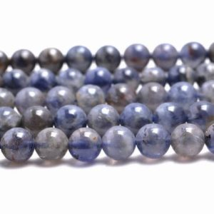 Shop Iolite Beads! 7mm Bermudan Blue Iolite Gemstone Grade A Blue Round 7mm Loose Beads 15.5 inch Full Strand (90146329-163) | Natural genuine beads Iolite beads for beading and jewelry making.  #jewelry #beads #beadedjewelry #diyjewelry #jewelrymaking #beadstore #beading #affiliate #ad