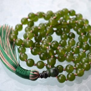 Shop Jade Necklaces! Hand Knotted Beads Mala, Healing Yoga Necklace Japa Mala 108 Green Olive Jade Nephrite Achieving Goals Memory Concentration Self Esteem | Natural genuine Jade necklaces. Buy crystal jewelry, handmade handcrafted artisan jewelry for women.  Unique handmade gift ideas. #jewelry #beadednecklaces #beadedjewelry #gift #shopping #handmadejewelry #fashion #style #product #necklaces #affiliate #ad