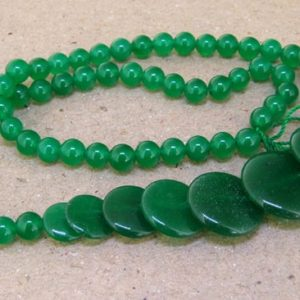 "Shop Jade Bead Shapes! Full Strand Coin  Green Jade Beads —– 6mm-20mm —– about 60Pieces —– gemstone beads— 15"" in length 