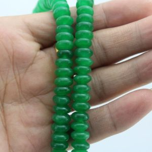Shop Jade Bead Shapes! Green Jade Beads ,One Full Strand,Green Stone Beads Jade Bea Gemstone beads –5*8mm–15  inches–approx 80 Pieces–EBT113 | Natural genuine other-shape Jade beads for beading and jewelry making.  #jewelry #beads #beadedjewelry #diyjewelry #jewelrymaking #beadstore #beading #affiliate #ad
