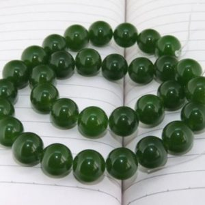 SALE PRICE Dark green Jade Beads Round shape— 4mm ,6mm, 8mm ,10mm ,12mm ,14mm — 15.5 inches full strand | Natural genuine beads Gemstone beads for beading and jewelry making.  #jewelry #beads #beadedjewelry #diyjewelry #jewelrymaking #beadstore #beading #affiliate #ad