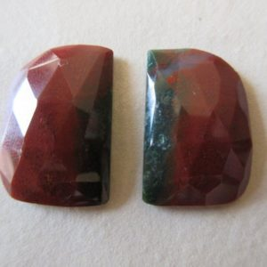 Shop Jasper Faceted Beads! 2 Pieces 24x16mm Each Jasper Matched Pairs Faceted Red Color Rose Cut Loose Cabochons RCN5 | Natural genuine faceted Jasper beads for beading and jewelry making.  #jewelry #beads #beadedjewelry #diyjewelry #jewelrymaking #beadstore #beading #affiliate #ad