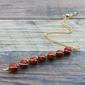 Shop Jasper Necklaces! Red Jasper necklace, Root chakra, 14k Gold filled or Sterling, | Natural genuine Jasper necklaces. Buy crystal jewelry, handmade handcrafted artisan jewelry for women.  Unique handmade gift ideas. #jewelry #beadednecklaces #beadedjewelry #gift #shopping #handmadejewelry #fashion #style #product #necklaces #affiliate #ad