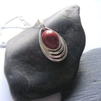 Concentric Necklace, Red Brown Jasper Pendant, Statement Pendant, Oval Pendant, Natural Jewelry, Lapidary Pendant, Silver, Handmade In Uk | Natural genuine Gemstone jewelry. Buy crystal jewelry, handmade handcrafted artisan jewelry for women.  Unique handmade gift ideas. #jewelry #beadedjewelry #beadedjewelry #gift #shopping #handmadejewelry #fashion #style #product #jewelry #affiliate #ad