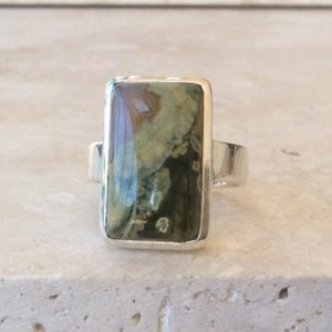 Shop Men's Gemstone Rings! Mens Green Gemstone Silver Ring, Large Green Jasper Sterling Silver Ring, Stone Ring, Gift For Husband | Natural genuine Agate mens fashion rings, simple unique handcrafted gemstone men's rings, gifts for men. Anillos hombre. #rings #jewelry #crystaljewelry #gemstonejewelry #handmadejewelry #affiliate #ad