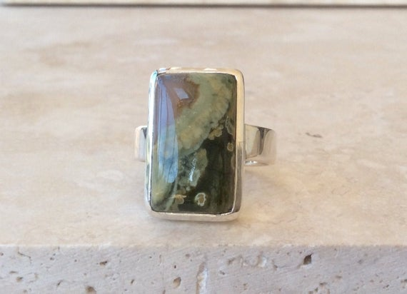 Mens Green Gemstone Silver Ring, Large Green Jasper Sterling Silver Ring, Stone Ring, Gift For Husband