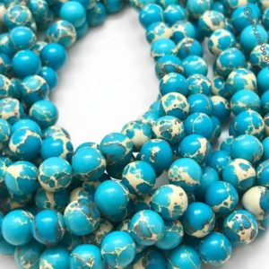 "Shop Jasper Beads! Sea Sediment Jasper Smooth Round Beads, Full Strand 15"" 6mm/8mm/10mm Beads,Natural Gemstone Beads 