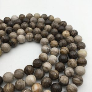 """Shop Jasper Beads! Silver Leaf Jasper Smooth Round Beads 4mm 6mm 8mm 10mm 12mm 15.5"""" Strand 