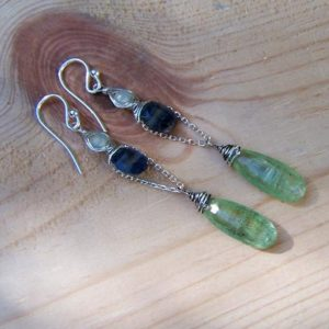 Shop Kyanite Earrings! Kyanite elongated drop earrings | Natural genuine Kyanite earrings. Buy crystal jewelry, handmade handcrafted artisan jewelry for women.  Unique handmade gift ideas. #jewelry #beadedearrings #beadedjewelry #gift #shopping #handmadejewelry #fashion #style #product #earrings #affiliate #ad