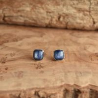Kyanite Studs – .925 Sterling Silver – Blue Kyanite Posts – Sterling Silver Studs – Kyanite Earrings | Natural genuine Gemstone jewelry. Buy crystal jewelry, handmade handcrafted artisan jewelry for women.  Unique handmade gift ideas. #jewelry #beadedjewelry #beadedjewelry #gift #shopping #handmadejewelry #fashion #style #product #jewelry #affiliate #ad
