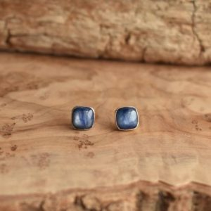 Shop Kyanite Earrings! Kyanite Studs – .925 Sterling Silver – Blue Kyanite Posts – Sterling Silver Studs – Kyanite Earrings | Natural genuine Kyanite earrings. Buy crystal jewelry, handmade handcrafted artisan jewelry for women.  Unique handmade gift ideas. #jewelry #beadedearrings #beadedjewelry #gift #shopping #handmadejewelry #fashion #style #product #earrings #affiliate #ad