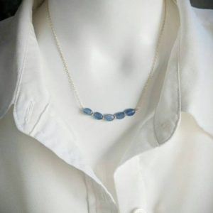 Shop Kyanite Necklaces! Blue kyanite necklace.   Your choice of gold filled or sterling silver | Natural genuine Kyanite necklaces. Buy crystal jewelry, handmade handcrafted artisan jewelry for women.  Unique handmade gift ideas. #jewelry #beadednecklaces #beadedjewelry #gift #shopping #handmadejewelry #fashion #style #product #necklaces #affiliate #ad