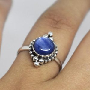 Shop Kyanite Rings! Natural Kyanite Ring,Kyanite Ring,Solid 925 Sterling Silver Ring,Handmade Jewelry,Women's Gift Ring,Blue Gemstone Ring,July birthstone gift | Natural genuine Kyanite rings, simple unique handcrafted gemstone rings. #rings #jewelry #shopping #gift #handmade #fashion #style #affiliate #ad