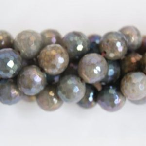 Shop Labradorite Faceted Beads! AB Labradorite Gray Faceted Round Shaped Gemstone Bead-10mm-15.5 inch strand- | Natural genuine faceted Labradorite beads for beading and jewelry making.  #jewelry #beads #beadedjewelry #diyjewelry #jewelrymaking #beadstore #beading #affiliate #ad