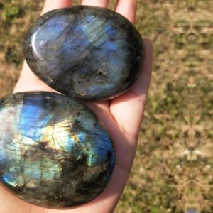 Shop Labradorite Shapes! Labradorite Large Flashy Palm Stone – Healing Crystals | Natural genuine stones & crystals in various shapes & sizes. Buy raw cut, tumbled, or polished gemstones for making jewelry or crystal healing energy vibration raising reiki stones. #crystals #gemstones #crystalhealing #crystalsandgemstones #energyhealing #affiliate #ad