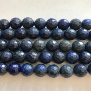 "Shop Lapis Lazuli Faceted Beads! lapis 10mm faceted Round Gemstone Beads—15.5""–1 strand/3 strands 