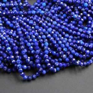 "Shop Lapis Lazuli Faceted Beads! Micro Faceted Natural Blue Lapis Lazuli Round Beads Tiny Small 3mm Faceted Round Beads Diamond Cut Gemstone 15.5"" Strand 